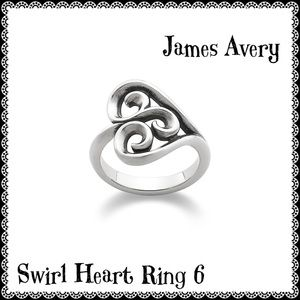 James Avery Heart Swirl 925 Silver Ring Size 6